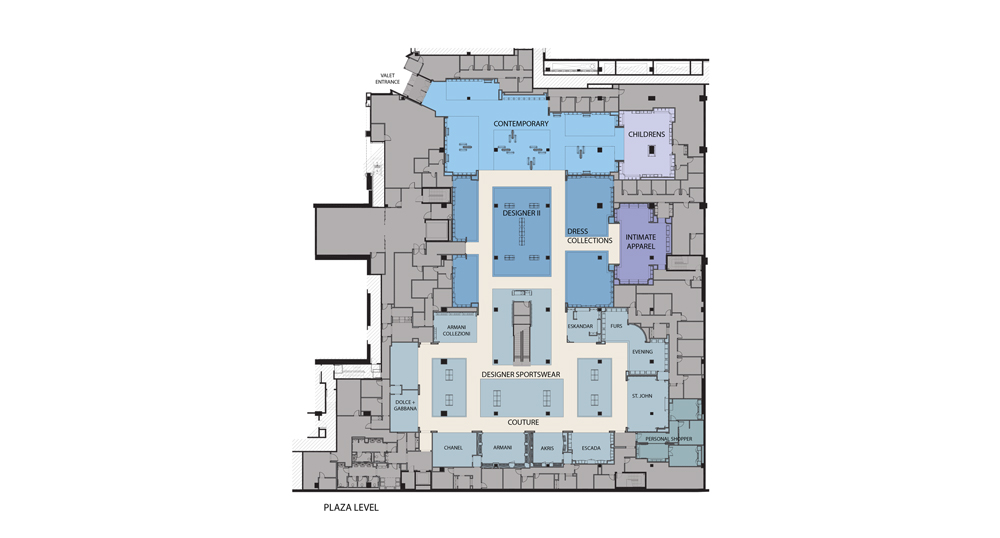 Neiman Marcus, The Bravern, Plaza Floor Plan, Bellevue, Washington