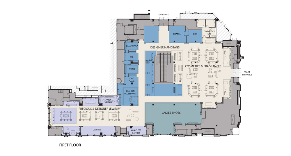 Neiman Marcus, The Bravern, Level-One Floor Plan, Bellevue, Washington